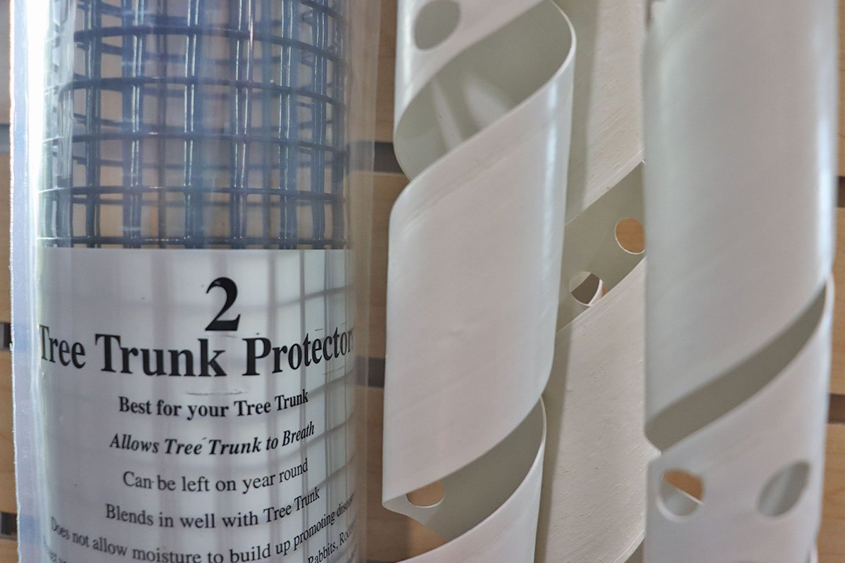 tree wrap trunk protection from deer buck rub deer protect trees