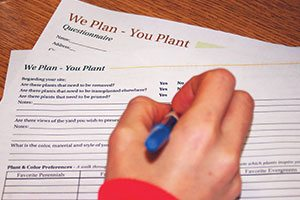 we plan you plant johnson's nursery gardens landscape design diy step 2 questionnaire